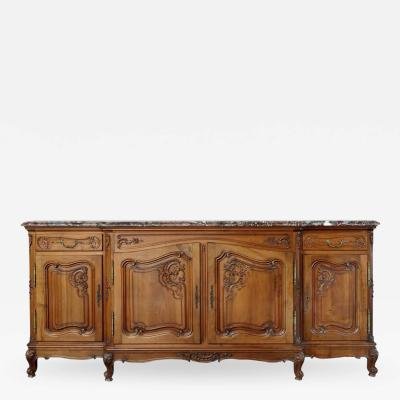 French Provincial Marble Top Credenza Sideboard in Carved Walnut