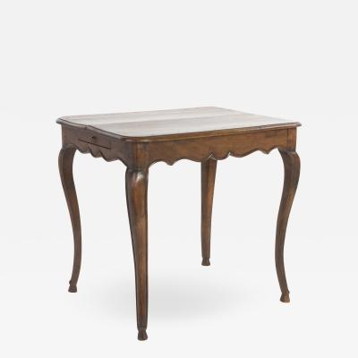 French Provincial Walnut Side Table With Cabriolet Legs Circa 1800