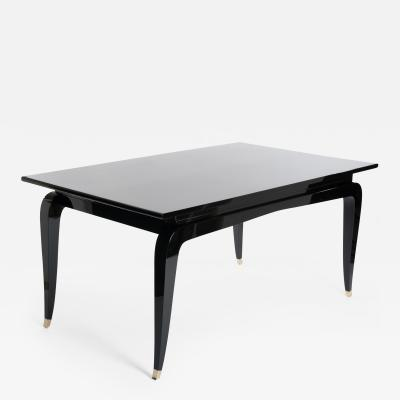 French Rectangular Art Deco Dining Table Black Lacquer Four Tapered Legs