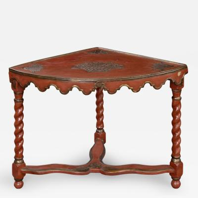 French Red Lacquer Corner Table