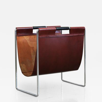 French Red Leather and Chrome Magazine Holder