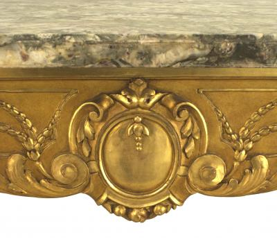French Regence Style Gilt Center Table with Grey Marble Top