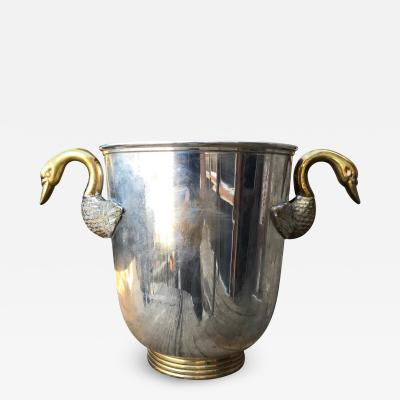 French Regency Swan Handles Bronze Silver Champagne Ice Bucket Wine Holder