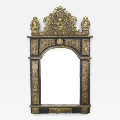 French Renaissance Style Brass Embossed Wall Mirror