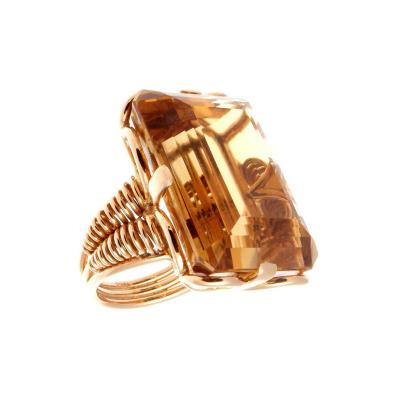 French Retro Citrine Rose Gold Ring