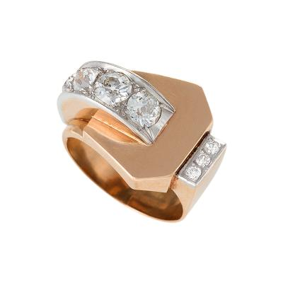 French Retro Diamond Platinum and Gold Buckle Ring