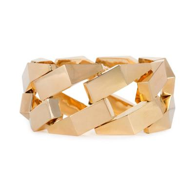 French Retro Gold Stylized Curb Link Bracelet