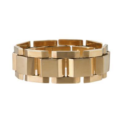 French Retro Gold Tank Track Link Bracelet