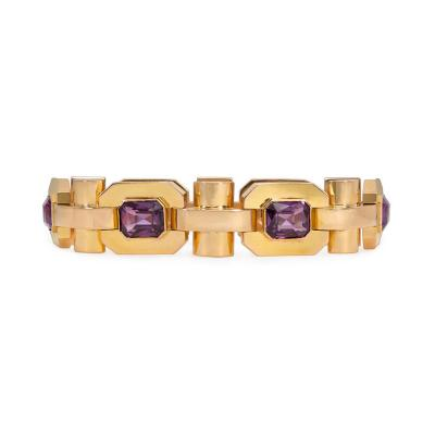 French Retro Gold and Synthetic Corundum Octagonal Link Bracelet