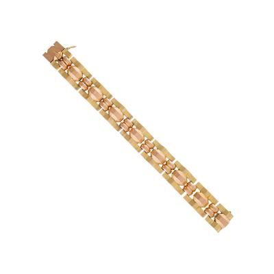 French Retro Pink and Yellow Gold Link Bracelet