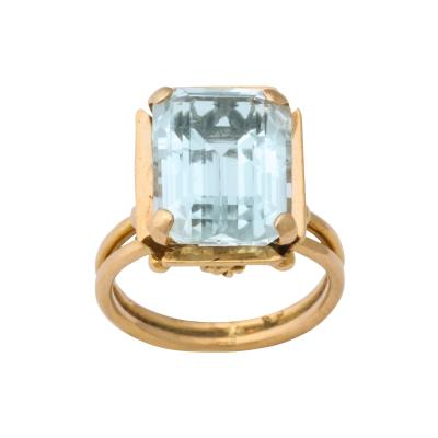 French Retro Rectangular Aquamarine Gold Ring