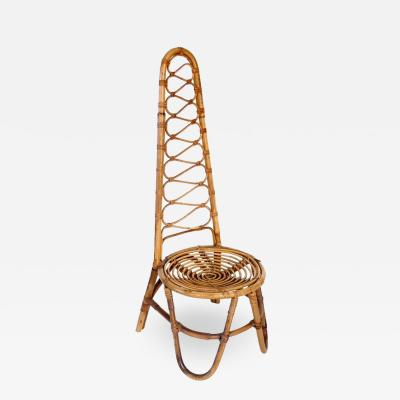 French Riviera Rattan Bamboo Single Chair circa 1960
