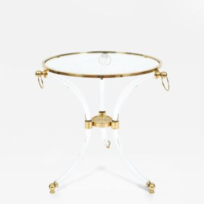 French Round Lucite Glass Brass Side Table Circa 1970