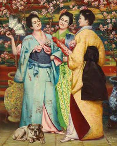 French School A Fine French Japonisme Oil on Canvas Painting of Three Geishas C 1900