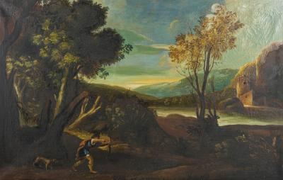 French School Landscape Painting With an Hunting Scene French School 19th Century