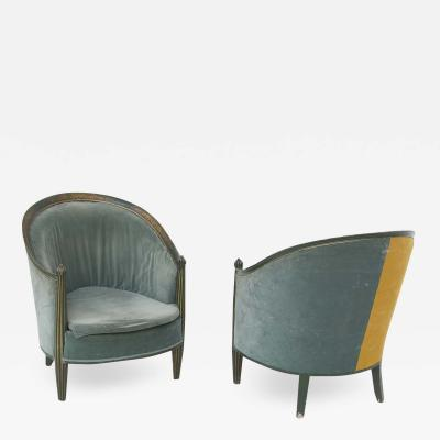 French School Pair of French Armchairs from early 900 in Green and Yellow Velvet
