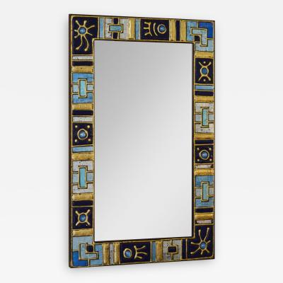 French School Wall Mirror Decorated with Glass Paste and Enameled Glass