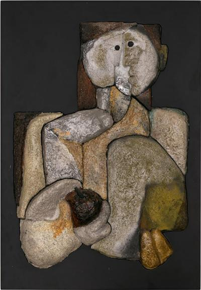 French Sculptural Ceramic Raku Panel