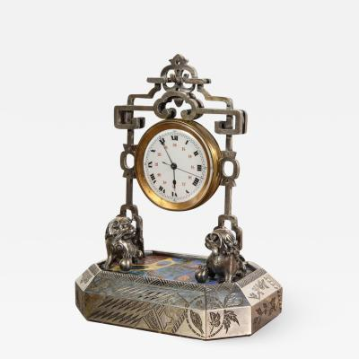French Silver Gilt and Enamel Chinoiserie Desk Clock Attributed to Boucheron