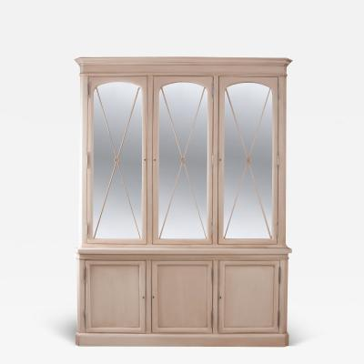 French Six Door Painted Biblioth que with Antiqued Mirrored Doors