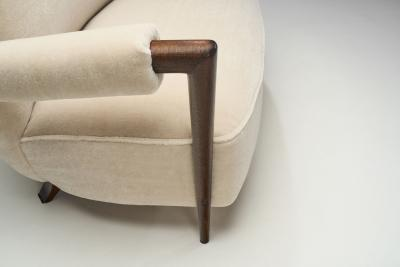 French Stained Wood Sofa with Cuffed Armrests France ca 1940s