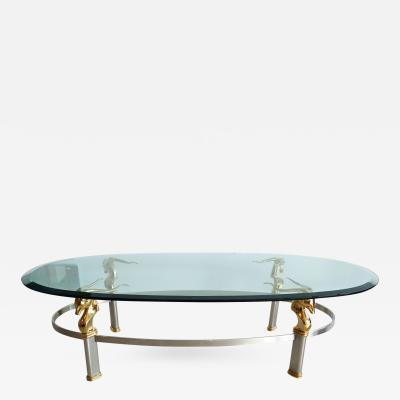 French Steel and Brass Coffee Table with Gazelle Motif