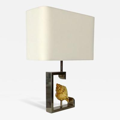 French Table Lamp with Real Seashell Surrounded by a Nickel Chrome Frame