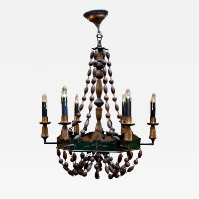 French Tole and Giltwood Chandelier