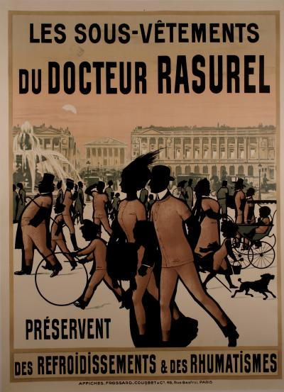 French Turn of the Century Poster for Dr Rasurel Undergarments 1900