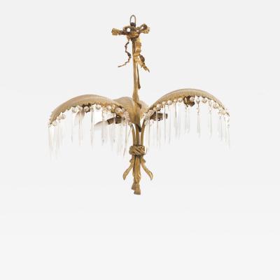 French Victorian Bronze Dore Palm Chandelier