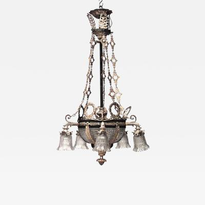 French Victorian Cut Crystal Bowl Base Chandelier