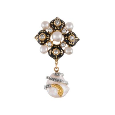 French Victorian Enamel Natural Pearl Diamond Brooch