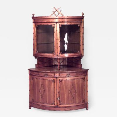 French Victorian Faux Bamboo Maple Corner Cabinet