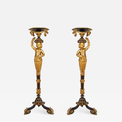 French Victorian Gilt Cupid Pedestals