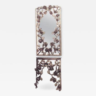 French Victorian Gilt Floral Console Table with Pier Mirror