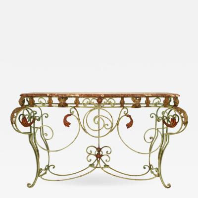 French Victorian Iron and Marble Console Table