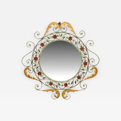 French Victorian Style Iron Wall Mirror