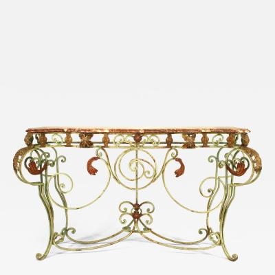 French Victorian Style Painted Iron Console Table