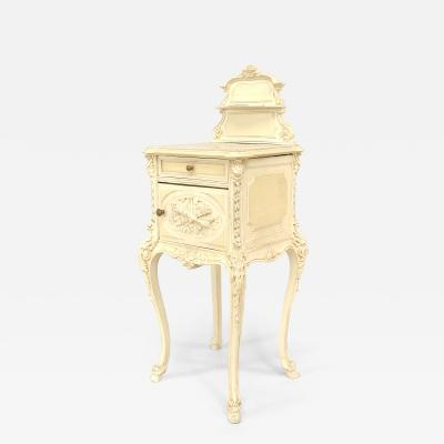 French Victorian White Bedside Commode
