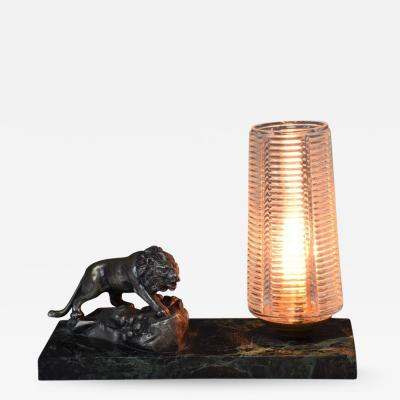 French Vintage Art Deco Lion Marble Table Lamp 1930s