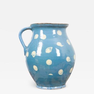 French Vintage Glazed Terra Cotta Polka Dot Pitcher