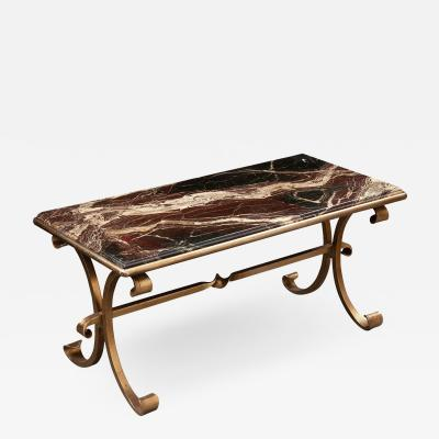 French Vintage Marble and Brass Coffee Cocktail Table