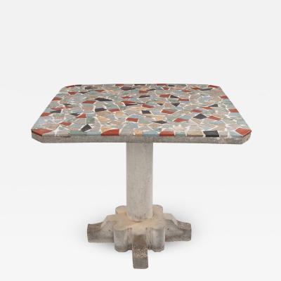 French Vintage Terrazzo Concrete Pedestal Table