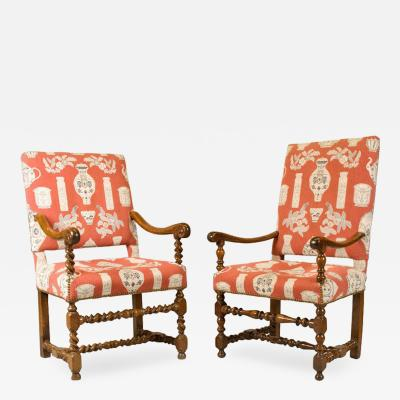 French Walnut Armchairs Louis XIII Period Fine Upholstery