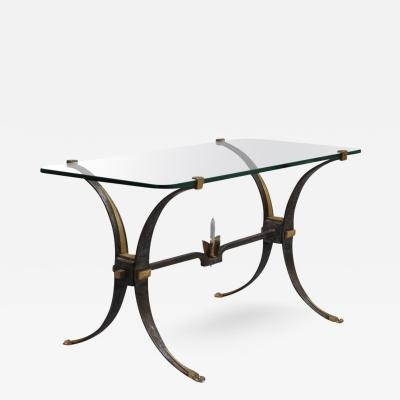 French Wrought Iron and Brass Coffee Table