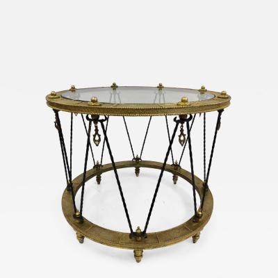 French Wrought Iron and Brass Side Table