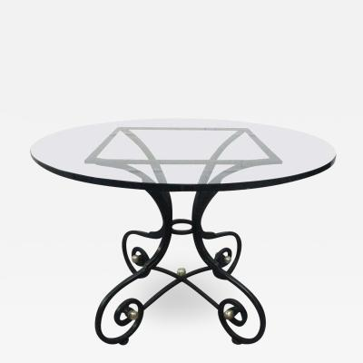 French Wrought Iron and Bronze Table