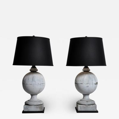 French Zinc Architectural Finial Lamps with Shades