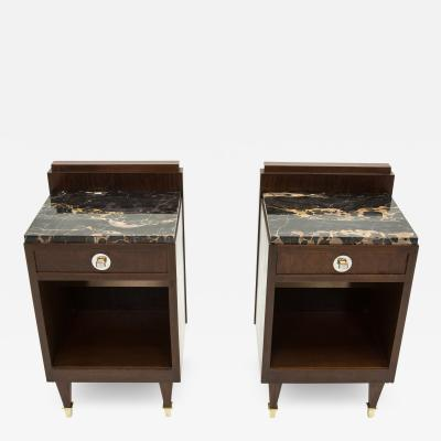 French art deco rosewood brass marble nightstands 1940s
