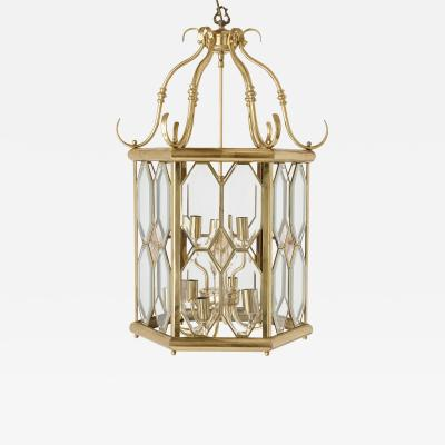 French bevelled glass and brass lantern
